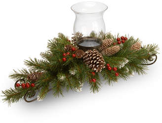 """National Tree Company 30"""" Frosted Berry Centerpiece with 1 Candle Holder & Glass Hurricane"""
