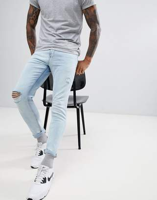 Pull&Bear Skinny Jeans In Light Blue With Rips