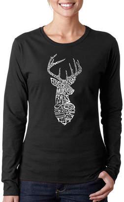 LOS ANGELES POP ART Los Angeles Pop Art Types Of Deer Long Sleeve Graphic T-Shirt