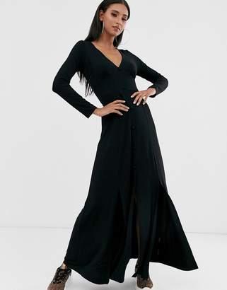 Asos Design DESIGN long sleeve button through maxi tea dress with splits