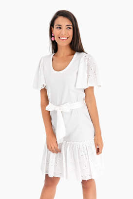Rebecca Taylor La Vie by Short Sleeve Embroidered Jersey Dress