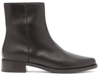 Legres - Almond Toe Leather Ankle Boots - Womens - Black