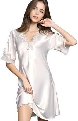 Ufatansy Uforme Women Sleepwear Sexy Lingerie V-Neck Nightgown Silk Lace Pajama Dress