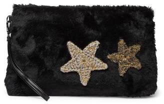 Do Everything in Love Faux Fur Star Patch Clutch