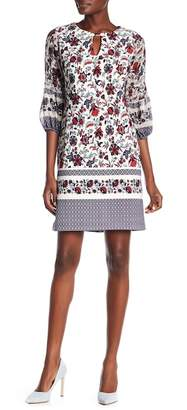 Taylor Printed 3/4 Length Sleeve Shift Dress