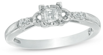 Cherished Promise CollectionTM 1/4 CT. T.W. Princess-Cut Diamond Promise Ring in 10K White Gold