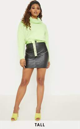PrettyLittleThing Tall Black Faux Leather Zip Detail Mini Skirt
