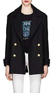 Balmain Women's Wool-Cashmere Felt Double-Breasted Peacoat - Black