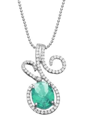 Sloane Rebecca Green Obsidian & Cubic Zirconia Platinum Over Silver Floral Pendant Necklace
