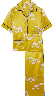 Olivia von Halle - Daria Printed Silk-satin Pajama Set - Chartreuse