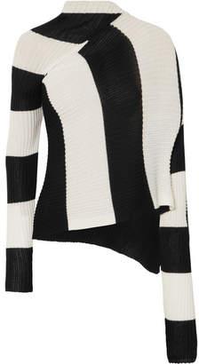 Marques Almeida Marques' Almeida Asymmetric Striped Stretch-knit Turtleneck Sweater