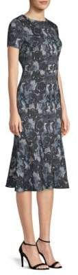 Becken Stretch Silk Floral Midi Dress