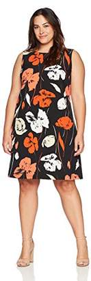 Kasper Women's Size Plus Tropical Printed Crepe Dress