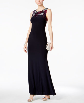 Betsy & Adam Embroidered Illusion Back Gown $309 thestylecure.com