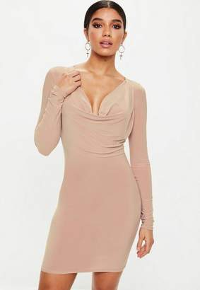 Missguided Pink Cowl Neck Bodycon Dress