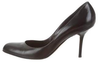 Manolo Blahnik Leather Round-Toe Pumps