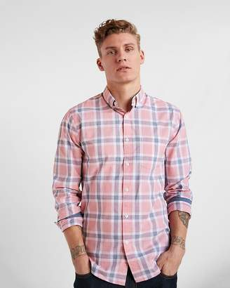 Express Slim Soft Wash Button Collar Plaid Shirt