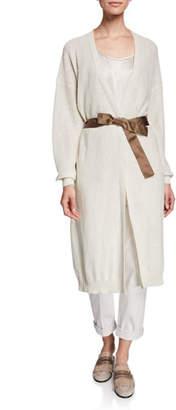 Brunello Cucinelli Linen-Silk Pailletteed Long Cardigan