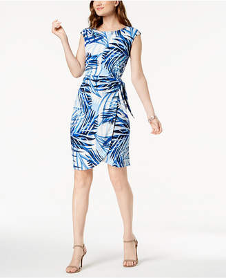 Jessica Howard Palm-Print Side-Tie Dress, Regular & Petite Sizes