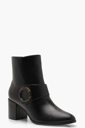 boohoo Wide Fit Tortoise Shell Trim Shoe Boots