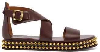 Chloé Beaded Flatform Leather Sandals - Womens - Burgundy