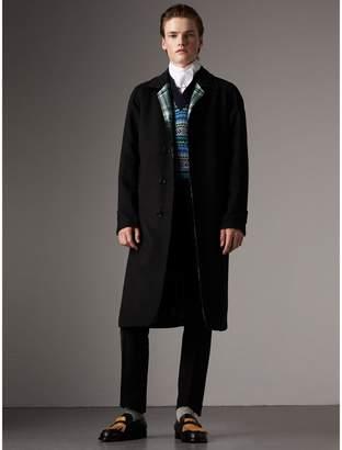 Burberry Reversible Cashmere and Tartan Wool Car Coat