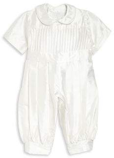 Isabel Garreton Baby's Tucks Silk Christening Coverall Suit