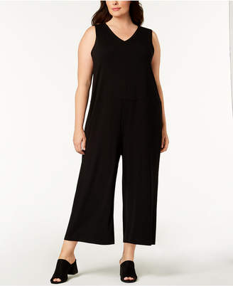 Eileen Fisher Plus Size Stretch Jersey Wide-Leg Jumpsuit