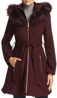 Laundry by Shelli Segal Hooded Faux Fur Trim A-Line Coat