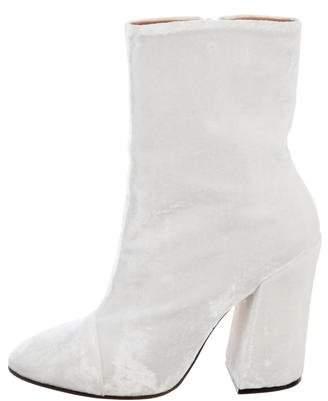 Dries Van Noten Velvet Semi Pointed-Toe Boots