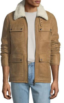 Belstaff Men's Upland Shearling-Collar Lightweight Suede Jacket