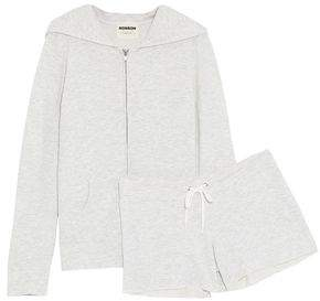 Monrow Mélange Stretch-Jersey Hoodie And Shorts Set