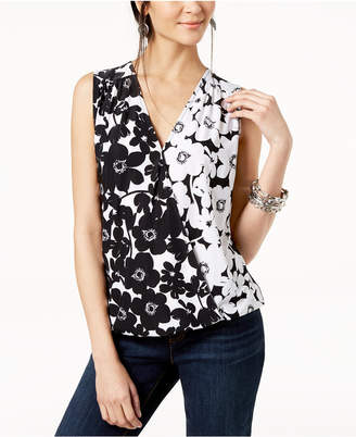 INC International Concepts I.n.c. Petite Floral-Print Surplice-Neck Top, Created for Macy's