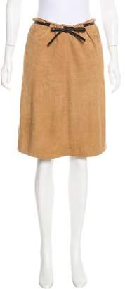 Intermix Suede Knee-Length Skirt