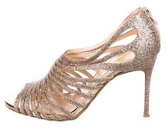 Christian Louboutin Glitter Multi-Strap Sandals