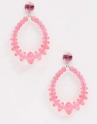 Missguided tear drop pink statement earrings