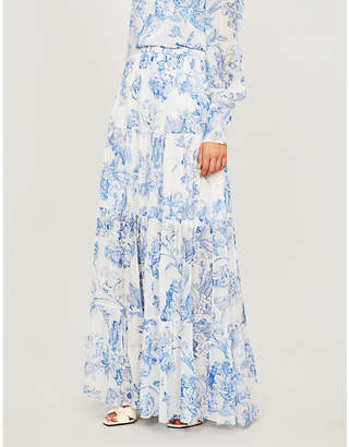Oscar de la Renta Floral-print pleated silk-chiffon maxi skirt