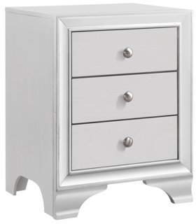 Pilaster Designs Belle White Wood Transitional 3 Drawer Storage Nightstand Bedside Table With USB Port