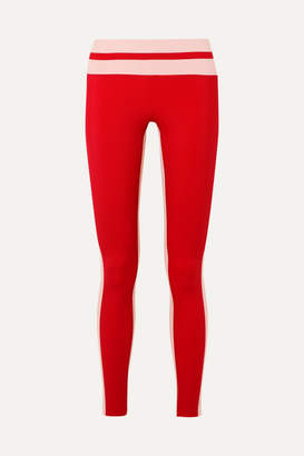 Vaara Flo Tuxedo Striped Stretch Leggings - Red
