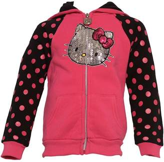 Hello Kitty Little Girls Dots Glitter Applique Hooded Jacket