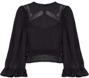 McQ Cropped Crochet-Trimmed Gauze Blouse