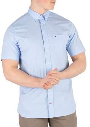 Men's Stretch Poplin Shortsleeved Shirt, Blue