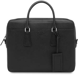 Prada top handles leather briefcase