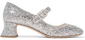 Miu Miu - Glittered Leather Pumps - Silver $690 thestylecure.com