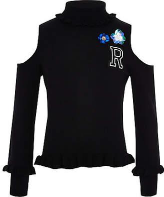 River Island Girls black embellished cold shoulder sweater