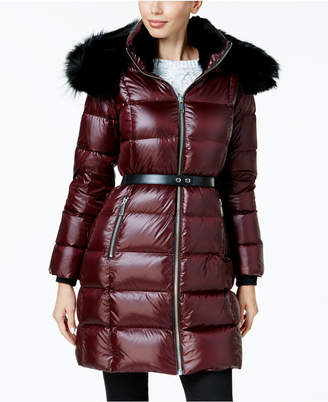 Andrew Marc Fox and Rabbit-Fur-Trim Down Puffer Coat