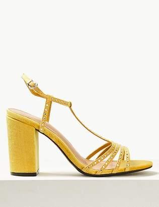 Marks and Spencer Block Heel Diamanté T-Bar Sandals