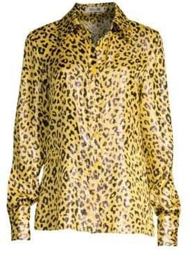 Diane von Furstenberg Leopard Print Button-Down Shirt