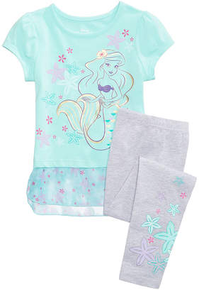 Disney Disney's Little Mermaid Princess Ariel 2-Pc. Graphic-Print Peplum Top & Leggings Set, Toddler Girls