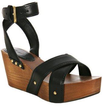 Miu Miu black leather platform wedge sandals